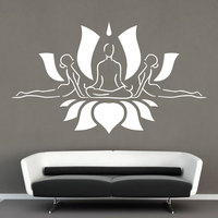 Meditation Wall Decal Yoga Studio Vinyl Wall Stickers Lotus Flower Pattern Decor Yoga Lotus Pose Art