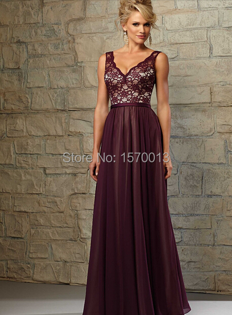 14c0436d623 Burgundy Chiffon Bridesmaid Dresses with Lace Corset Deep V Neck Spaghetti  Straps V Back Full Length Vestidos De Festa-in Bridesmaid Dresses from  Weddings ...