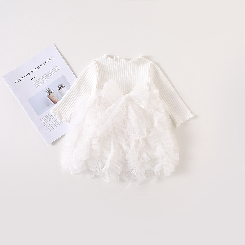 2019 Cotton Long Sleeve Knitted Kids Dresses For Girls Toddler Clothing Baby Girl Drees Tulle Patchwork Grey Pink White Spring 15