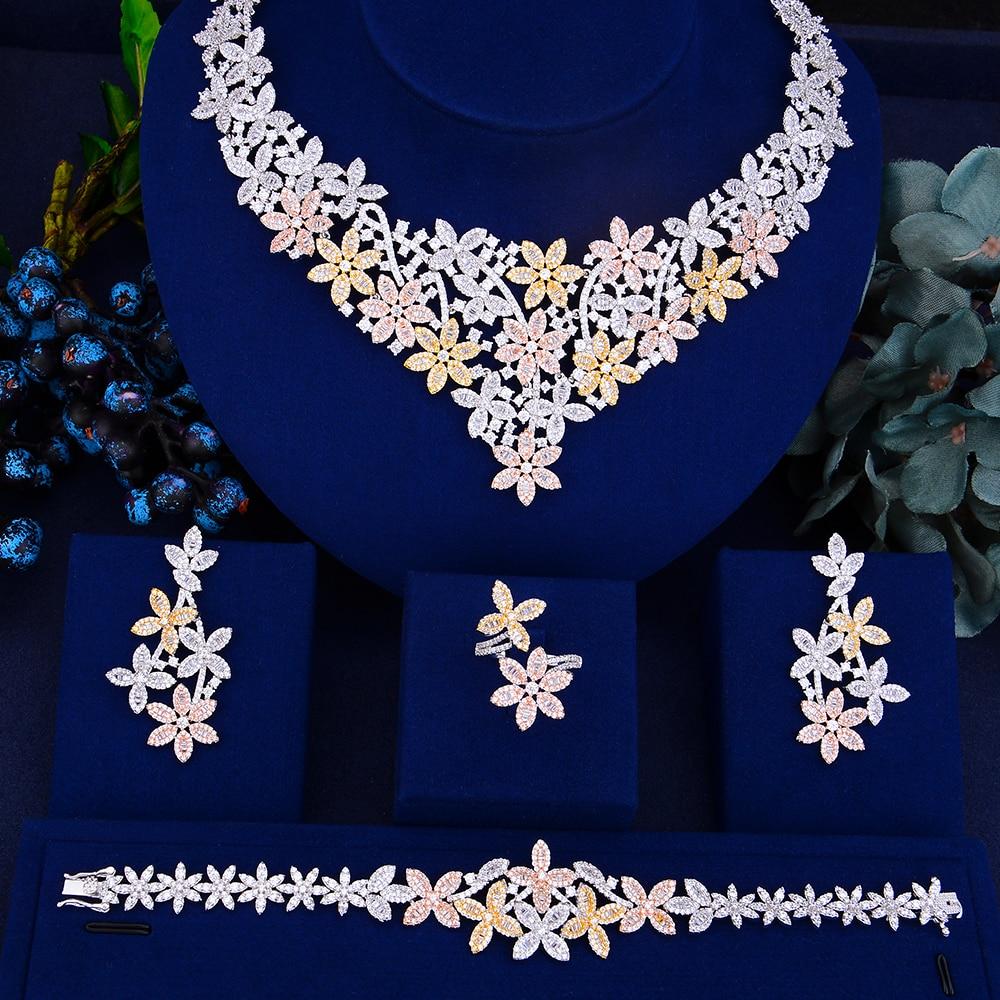 LARRAURI 2019 Trendy Bridal Wedding Jewelry Sets Flower Pendant Necklace Earrings Bangle Resizable Ring Jewelry Sets For Women