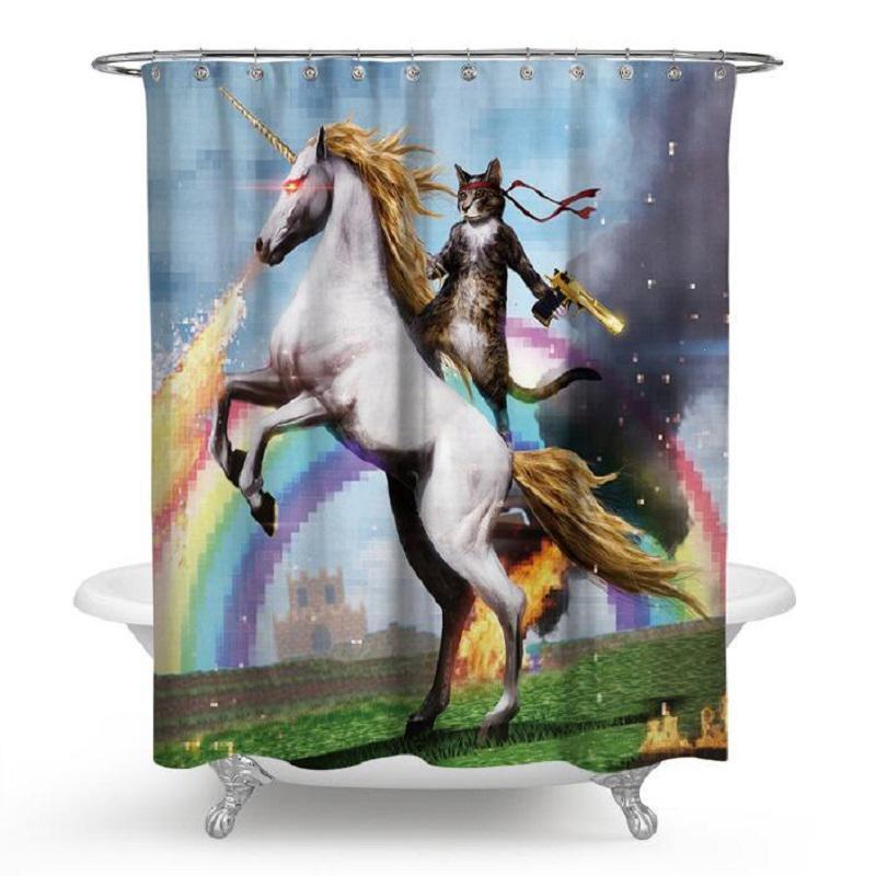 Unicorn Cat Waterproof Shower Curtain Polyester Fabric Printing Bathroom Curtain With 12 Hooks Bath Product Decor 71x71