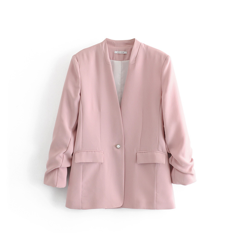 Women's Jacke Temperament Single-breasted V-neck Solid Color Suit Jacket Female 2019 Summer New Women's Clothing