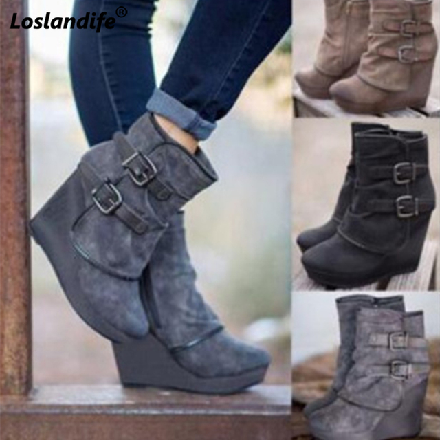 Booties woman 2018 High heel wedge zipper rubber ankle boots fashion  leather female height Increasing shoes women s winter boots 25a1a4230c1b