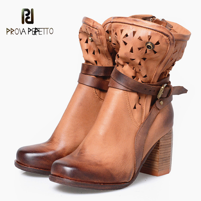 Prova Perfetto Square High Heel Women Ankle Boots Carve Hollow Out Martin Boots Round Toe Buckle Belt Women Short Boots prova perfetto fashion round toe low heel mid calf boots feminino buckle belt thick bottom genuine leather women s martin boots