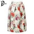 Daylook 2016 бежевый роза цветочный принт юбки женская плиссированная юбка длиной до колен эластичный высокой талией конькобежец стороны молнии Saia
