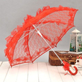 New Arrival White and Red Color Lace Bridal Umbrella for Wedding Party Bridal Use Wedding Accessories ASABU2