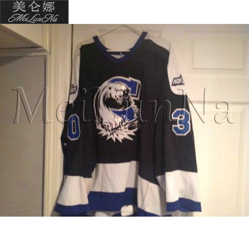 MeiLunNa Custom ECHL Chesapeake Icebreakers Hockey Jerseys 6 Darren Wetherill 30 Martin Bradette Black Sewn On Any Name NO. Size