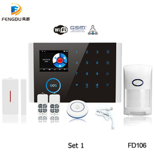 Newest WiFi PSTN GSM Alarm System Kit Home Alarm System 433MHz Wireless Alarms Host Door Open Sensor Alarms APP Keyboard Screen цена 2017