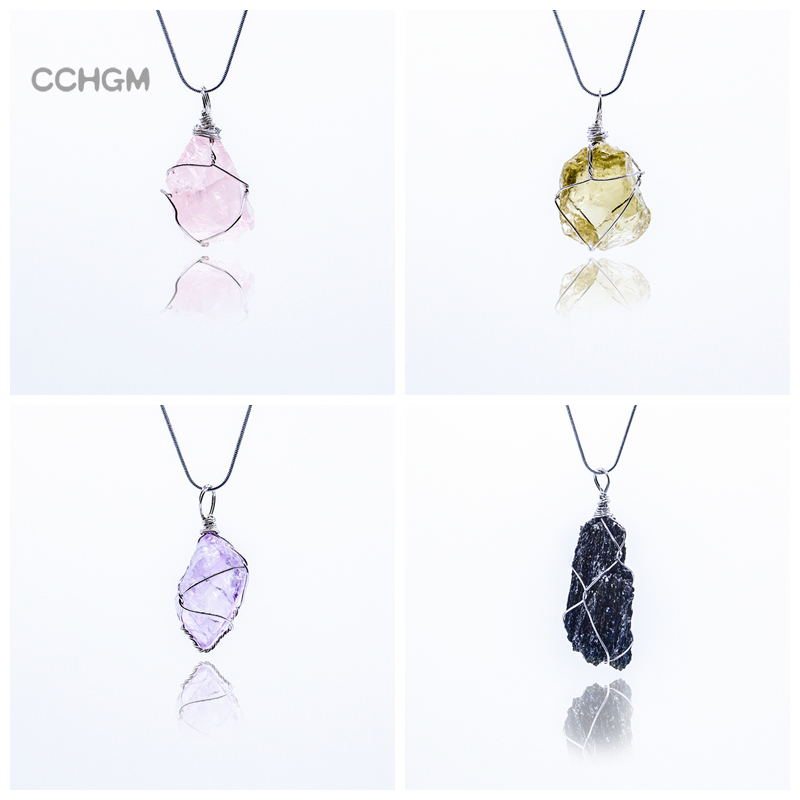 New CCHGM Handmade Irregular Wire Wrapped amethysts Pendants Necklace Women Natural Stone Crystal pink Quartz Fluorite Necklaces