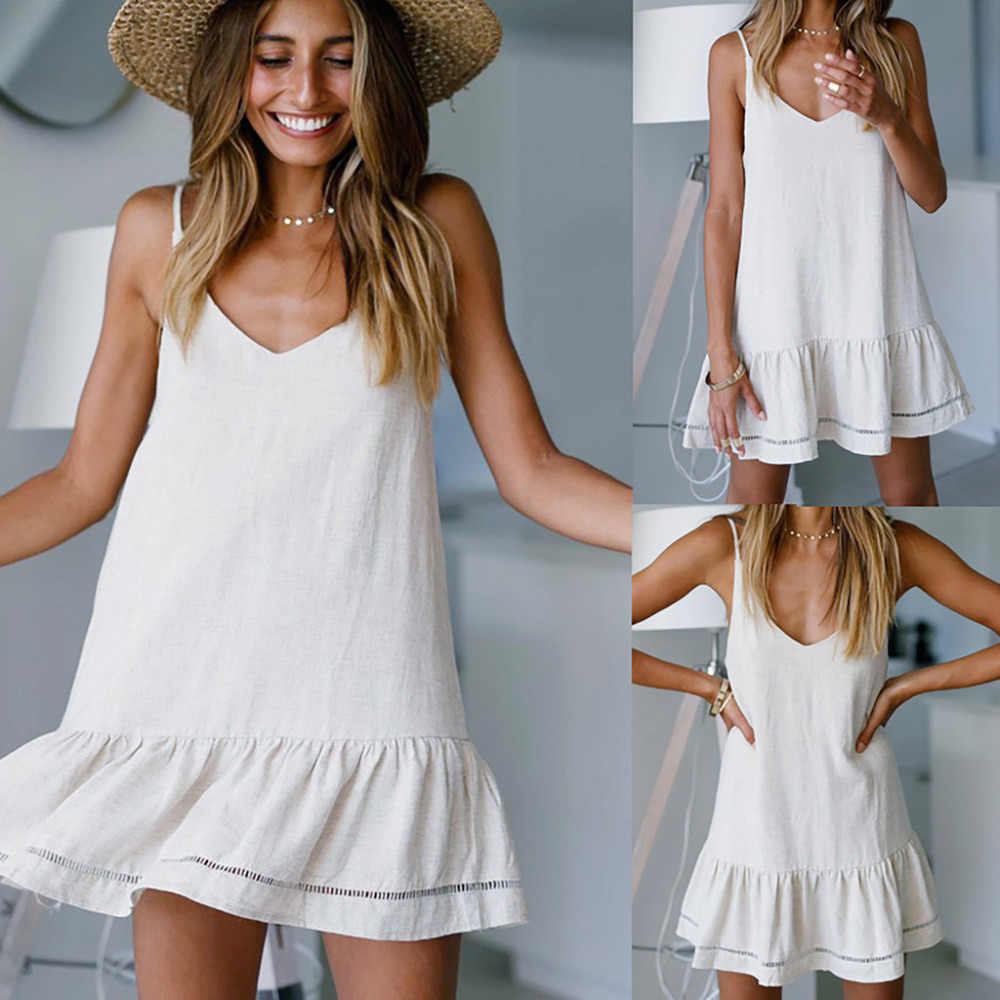 2019 Women's Sexy V-Neck Solid Sleeveless Casual Backless Butterfly Mini Summer dress Faldas Mujer vestidos robe femme sukienki