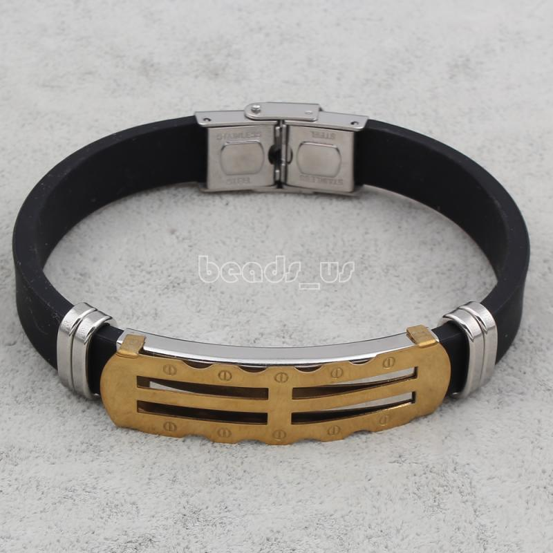 Silicone Bracelets,Fashion Jewelry Graceful, Stainless Steel, with Silicone, plated, 13x45x5mm, Sold Per Approx 7.5 Inch Strand