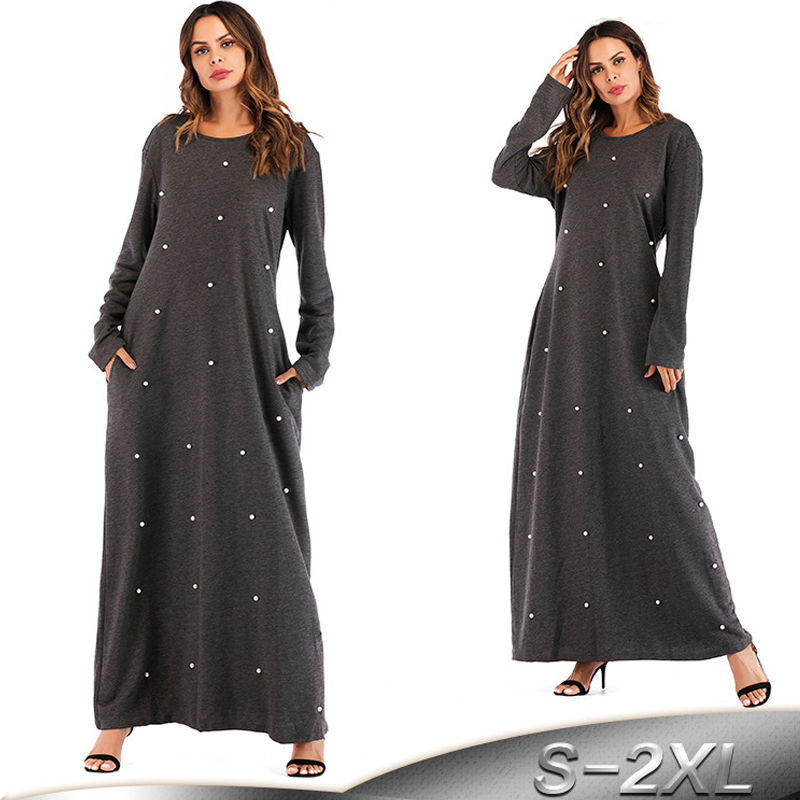 2019 Cotton Abaya Dubai Kaftan Bangladesh Islam Pearls Hijab Muslim Dress Abayas For Women Robe Qatar Turkish Islamic Clothing