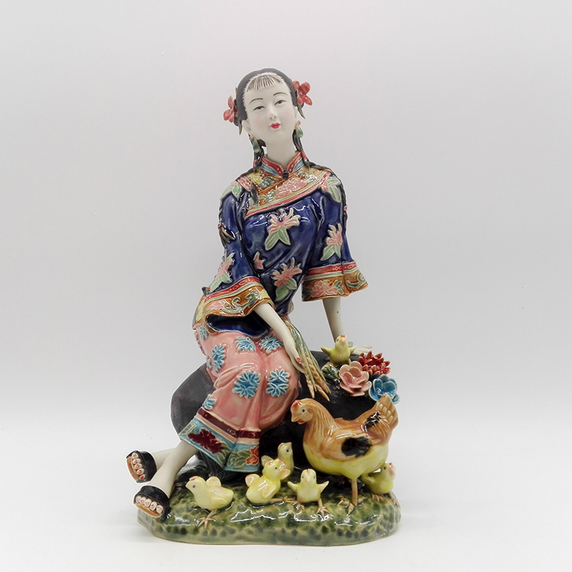 Collectibles Glazed Ceramic Dolls Laddy Sculptures Chinese Female Statues Figurine Christmas Gifts Traditional Art