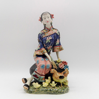 Free shipping Collectible Ceramic Statue China Porcelain Figurines Antique Imitation Female Sculpture Christmas Decoration