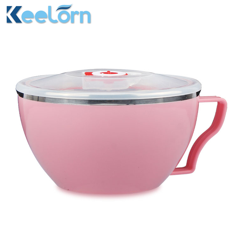 Keelorn 304 Stainless Steel Creative Sealed Prevent Leaks Bowls Environmental Protection Material Healthy Noodles Rice Bowls