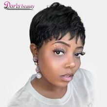 Doris beauty синтетический черный короткий женский парик прямые парики для женщин коричневый натуральный волос термостойкие парики с челкой