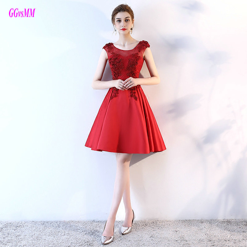 Advanced Red Short Prom Dresses 2018 Sexy Casual Prom Gowns O Neck
