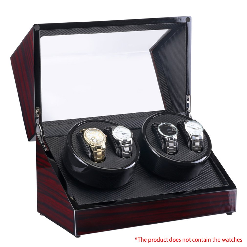 TAIYU Double Head 4 Slots Lacquer Wood Rotate Watch Winder Box Silent Motor 2017 latest wood watch winder black carbon fibre ultra quite motor 5 modes automatic watch winder