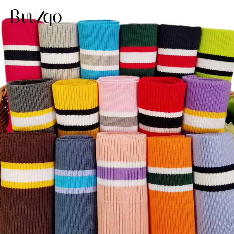 Buulqo 80 см хлопчатобумажная пряжа окрашенные полосы стрейч манжеты DIY хлопок трикотажная ткань для декольте подол, зимняя куртка, аксессуары для одежды