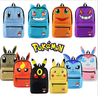 Haunter Pokemon Pikachu Bulbasaur Estudantes Mochila de Lona Ombros Saco Monstro de Bolso Eevee Haunter Mochilas Laptop Sacos