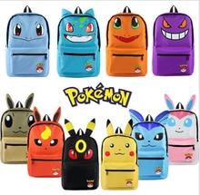 Pokemon Pikachu Haunter Eevee Bulbasaur Canvas Backpack Students Shoulders Bag Pocket Monster Haunter Schoolbags Laptop Bags