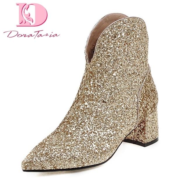 71956d1c Doratasia tallas grandes 32-43 tacones cuadrados botas sexis zapatos de  mujer con cremallera punta