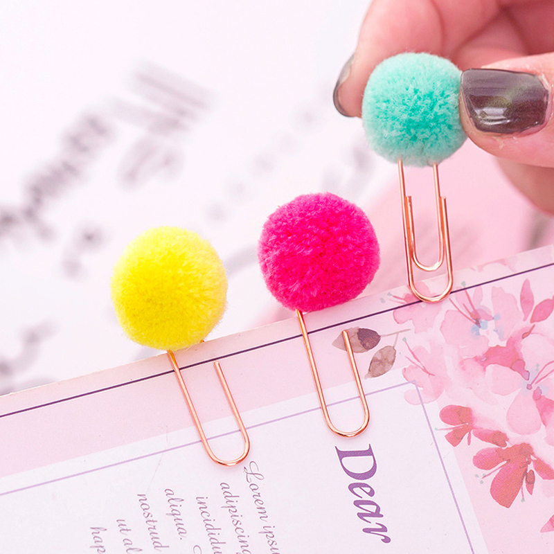 Coloured Plush Ball Novelty Heteromorphism Clip Material Escolar Bookmarks For Books Stationery School Supplies Papelaria Gifts