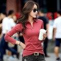Поло женщины твердые обычная черный поло рубашки женщин поло с длинным рукавом поло манга ларга сорочка femme маше шезлонг marque