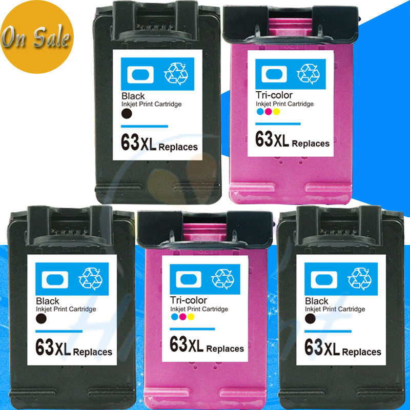 5 pks black & color for HP 63XL for HP63XL 63 Ink cartridges for HP DESKJET 1111 2132 3630 3632 1110 inkjet printer