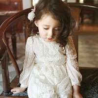 New Spring Autumn Vintage Lace Long Sleeve Baby Girl Princess Dress Vestidos Infantis Suit 7 15