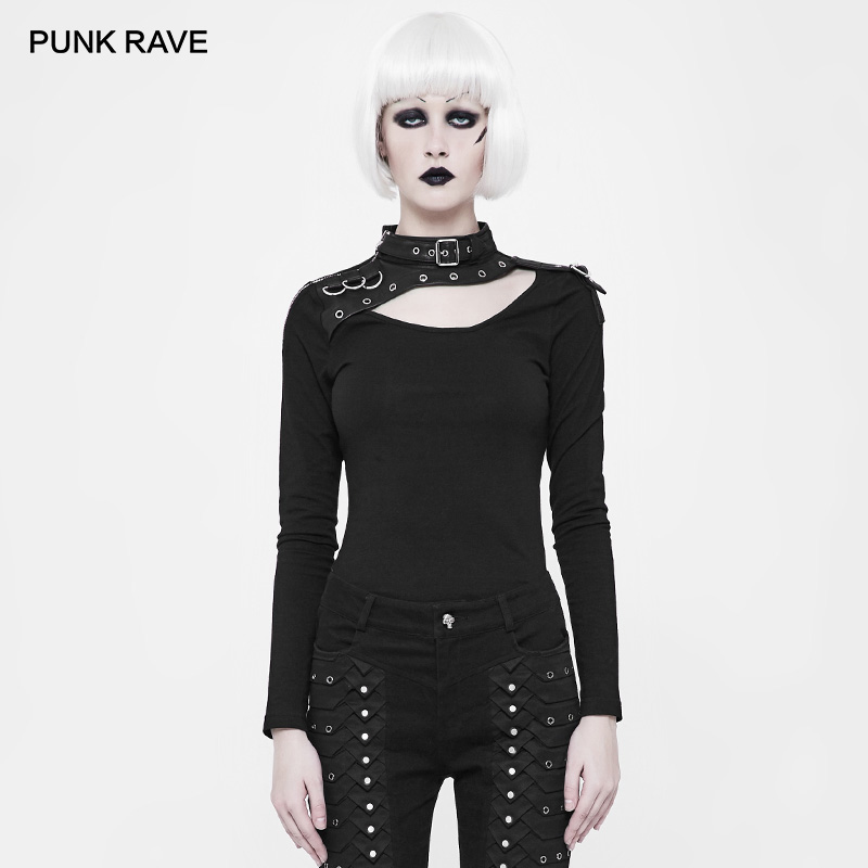 PUNK RAVE Women s Goth Leather Long Sleeve Trimmed Black Tshirt Ladies Personality and Cool Tops