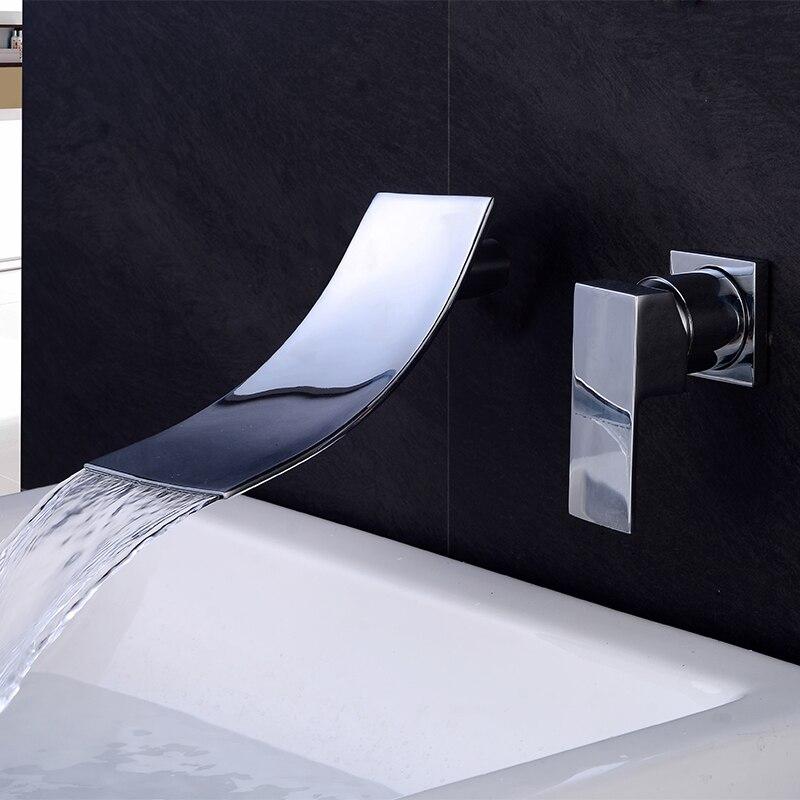 BAKALA черный золотой настенный кран для раковины водопада с одной ручкой водосток для ванной комнаты сосуд смеситель для раковины LT-304