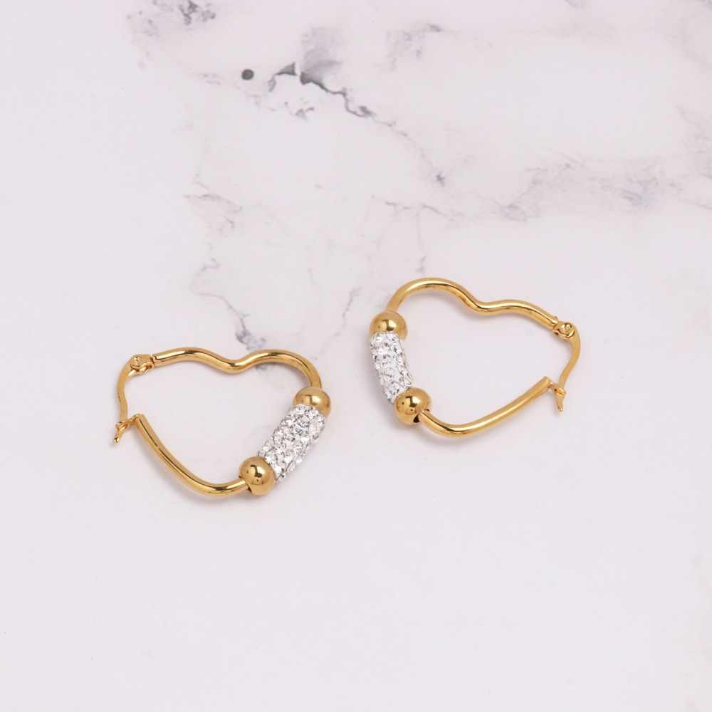JUJIA  2018 Stainless Steel Drop Earring Heart Shape gold color plated for woman Sold By Pair Fashion Daily Party Earrings