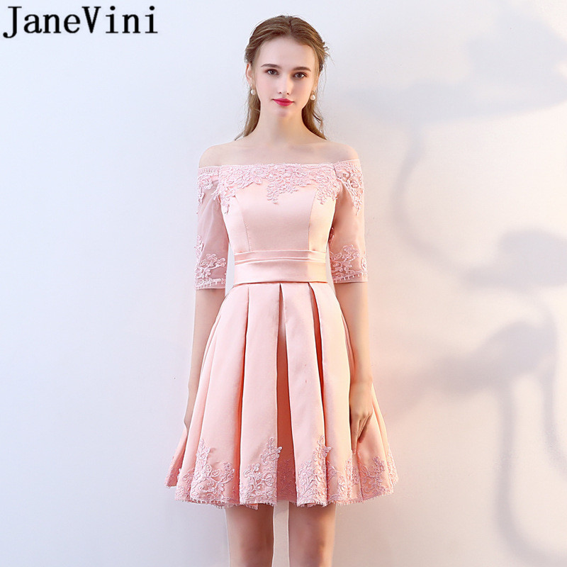 JaneVini Pink Lace Homecoming   Dress   Satin Short Prom   Dress   For Wedding Party Elegant 2018 Burgundy   Bridesmaid     Dresses   Lace-Up
