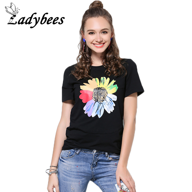 880d968f271 LADYBEES Women 5XL Plus size T-Shirts Sunflower Printed Short Sleeve Summer Tops  4XL Casual Loose Pattern TEE Floral L - XXXXXL