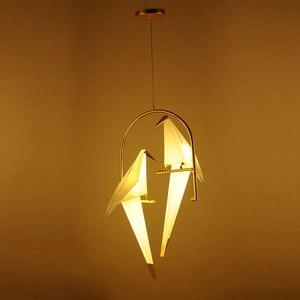 Image 5 - מודרני נייר מנוף מתכת בציר נברשת תליית אור מסעדת סלון אוכל חדר ילדים LED ציפור עיצוב תליון מנורה