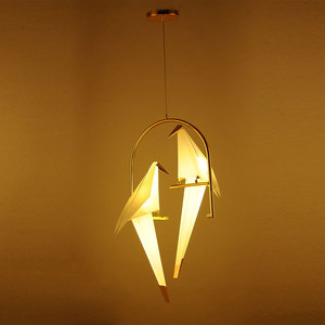 Image 5 - 現代紙クレーン金属ヴィンテージシャンデリアライトレストランリビングダイニング子供のルームled鳥のデザインのペンダントランプ