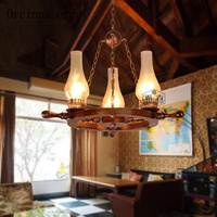American country solid wood chandelier living room restaurant bar Chinese antique creative boat rudder glass chandelier