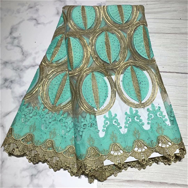African Lace Fabric High Quality Aqua Green French Tulle Lace Fabric 2019 Nigerian Laces Guipure Embroidery Fabric For Wedding