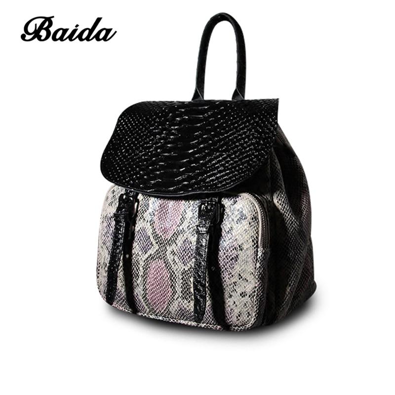 Women Genuine Real  Leather Backpack Flip Bag Serpentine Satchel Bags School Travel Daily Casual Vintage Retro Bagpack