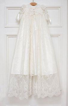 White/Ivory Soft Baby Baptism Dresses Christening Gown Lace Long Sleeve+Headband