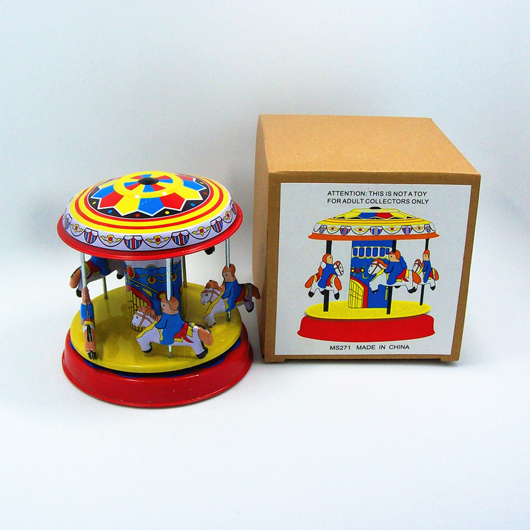 Classic collection Retro Clockwork Wind up Metal Tin Gear High-wheel Carousel toy Mechanical toys kids baby christmas gift