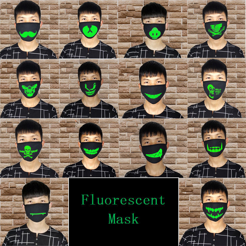 Unisex Halloween Party Luminous Face Masks Decor Pattern Solid Black Mask Half Face Mouth Muffle Masks