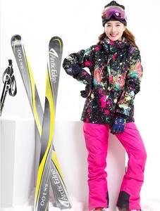 84a2f95b5eac Women ski suit bib pants rose red suspender ski pants female riding  climbing skiing