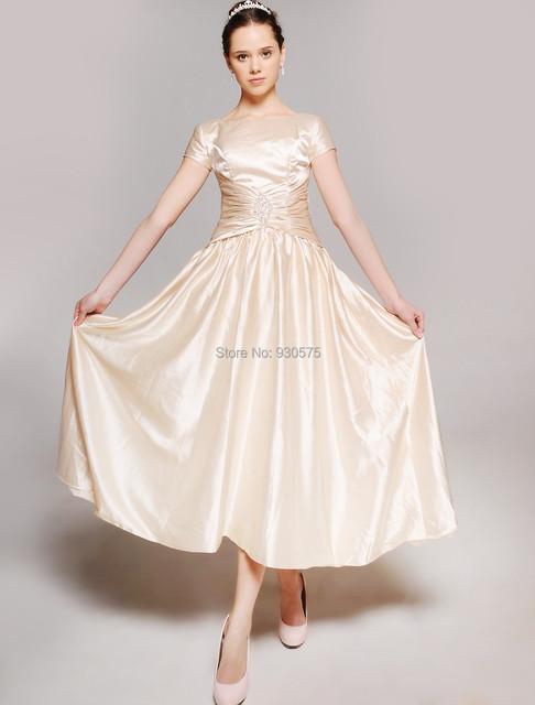 Vestido de noche 2017 As Mulheres Se Vestem Nova Moda Barato Mãe Dos Vestidos de Noiva Elegante Tornozelo-comprimento de Uma Linha de Curto mangas Frisado