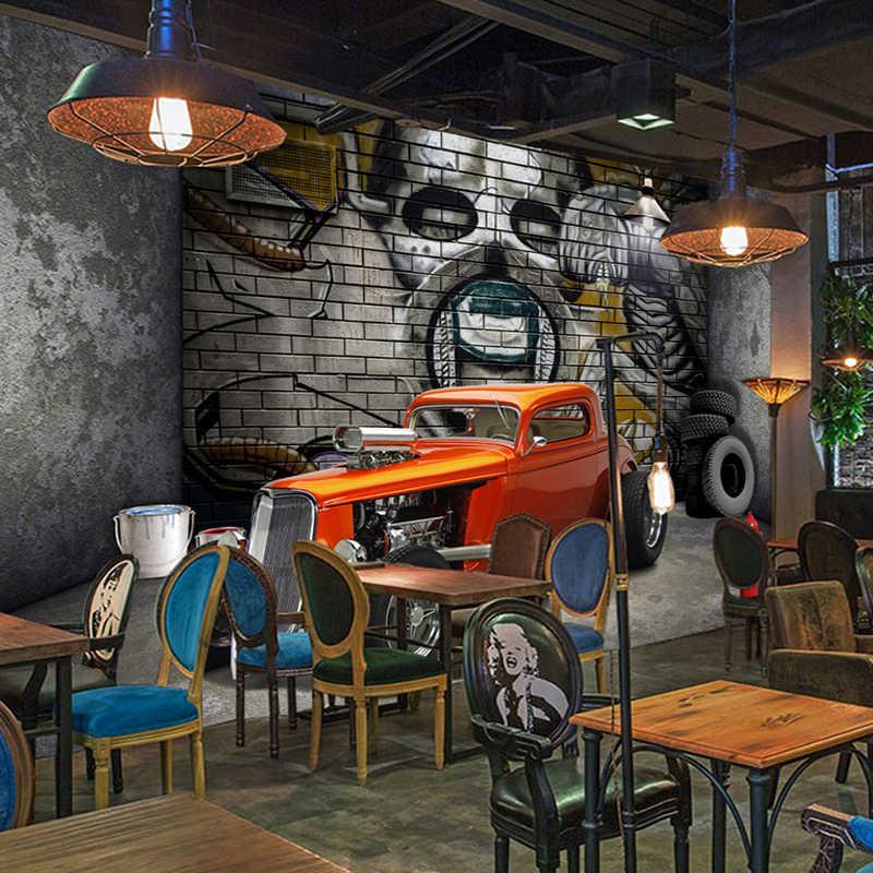 Personalizado 3d murais de parede papel de parede criativo estereoscópico espaço carro crânio rua graffiti arte restaurante fundo da pintura