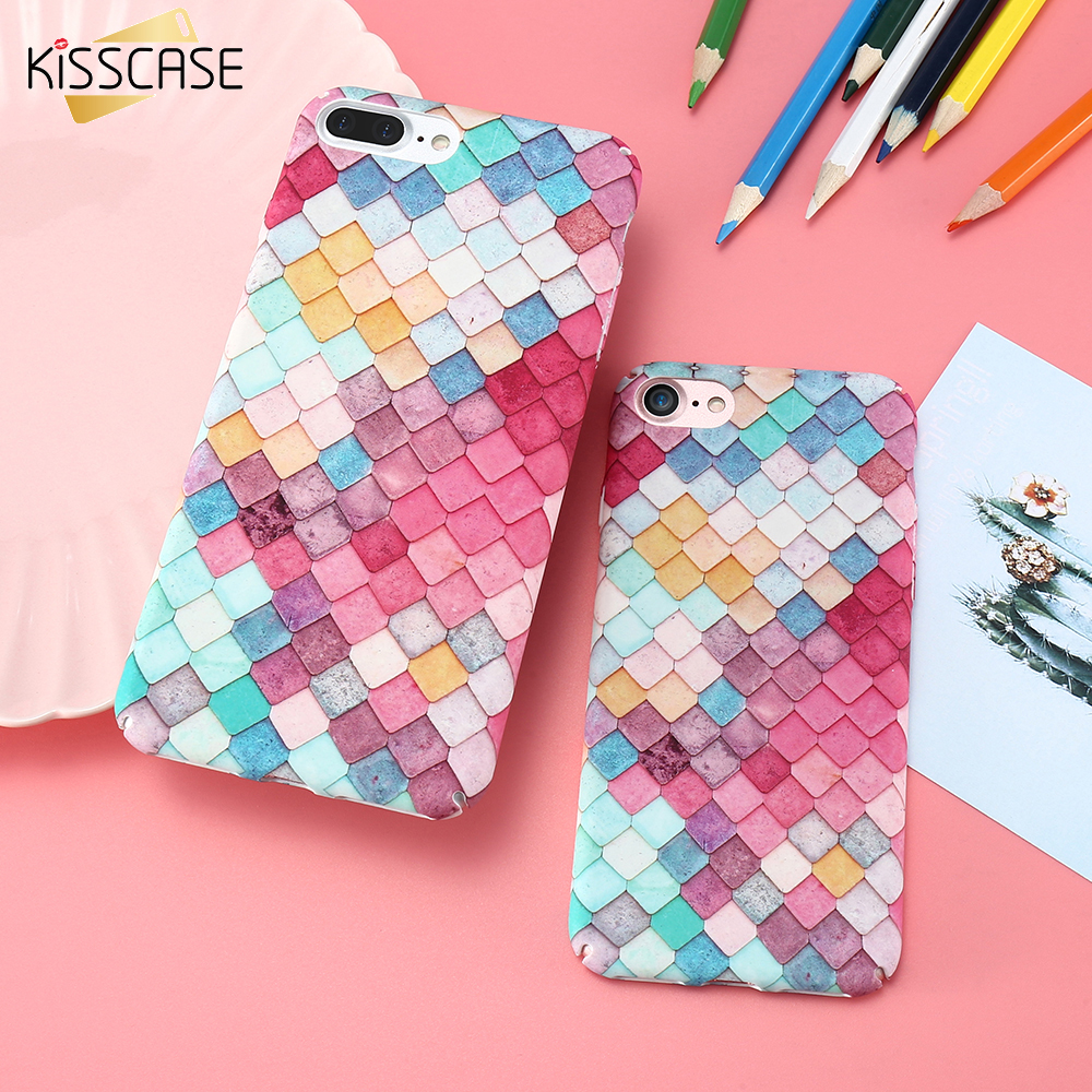 KISSCASE Colorful Grid Case For Apple iPhone 7 7 Plus 6 6S Plus Mermaid 3D Girly Cover For Xiaomi mi5 For Samsung A5 S7 S7 Edge