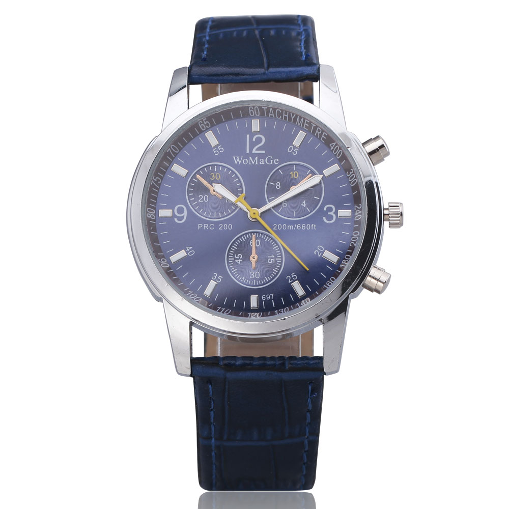 2016 Top Brand Womage Vogue Casual Luxury Dress Quartz Lenovo A3500 16gb Midnight Blue Watches Men Clock Round Dial Leather Strap Mens Business Wristwatches