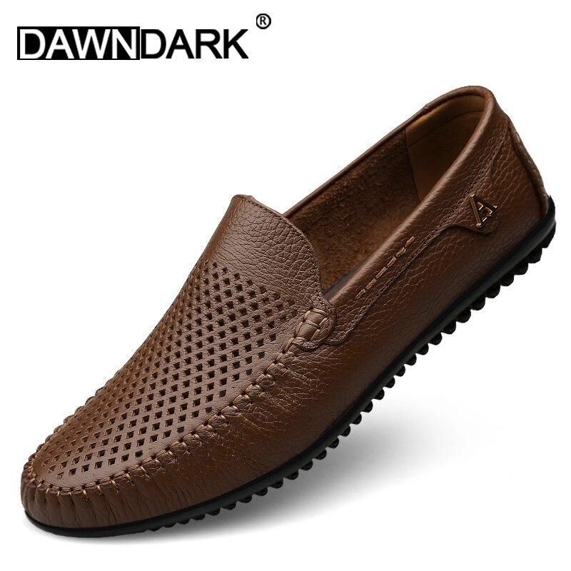 Hommes chaussures décontractées haute qualité en cuir mocassins confortable sans lacet hommes chaussures plat conduite grande taille marron noir homme baskets