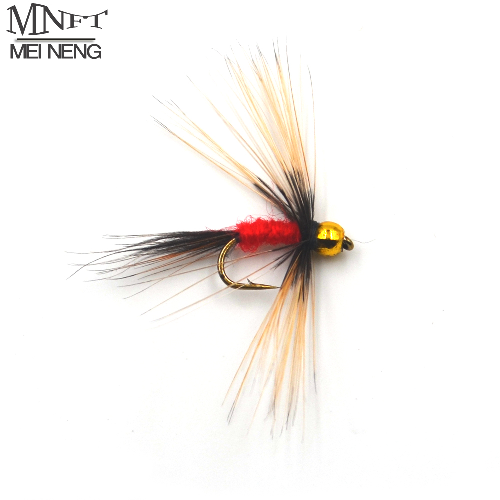 MNFT 10PCS 14# Gold Beadhead Long beard Nymph Red Body Fishing Fly Artificial Bait 12pcs 14 red tail bead head buzzer nymph fly for trout fishing lures